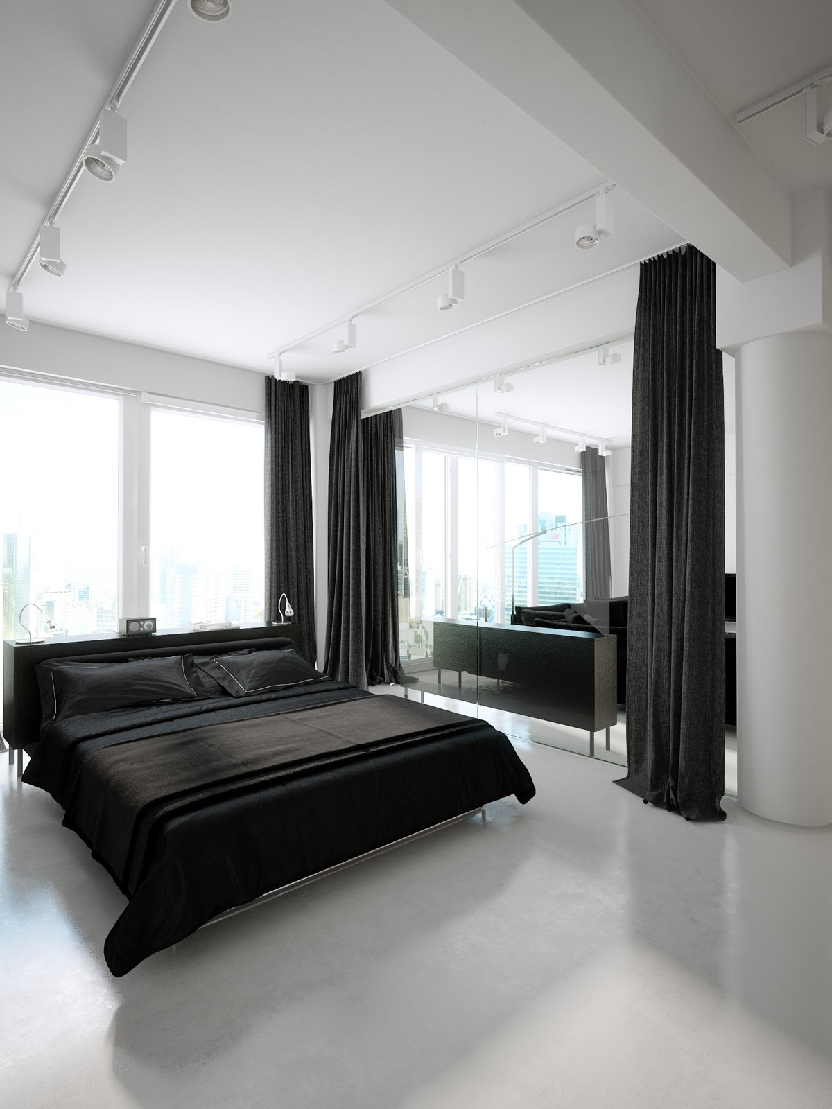 black furniture in black and white interior design