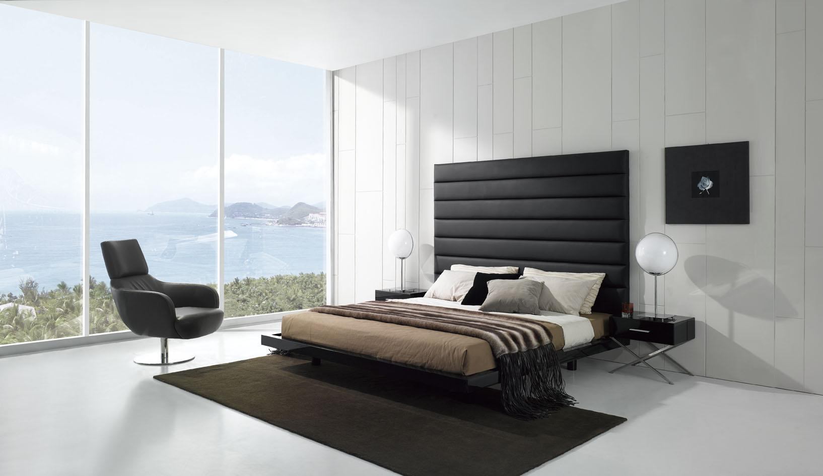 black and white bedroom with amazing view