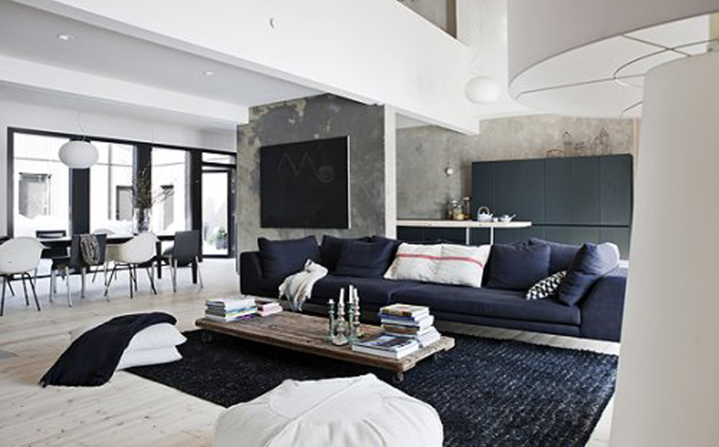 ... Concrete Black Walls Black Carpet Used In Black And White Contemporary Interior  Design ...