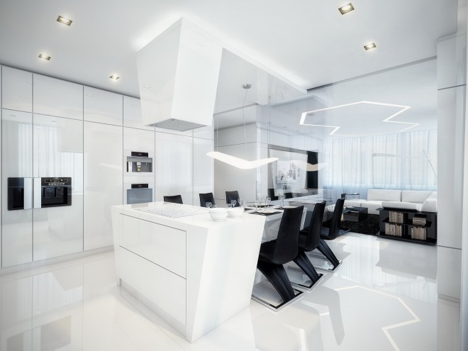 white interior design with glossy finishes and black accents