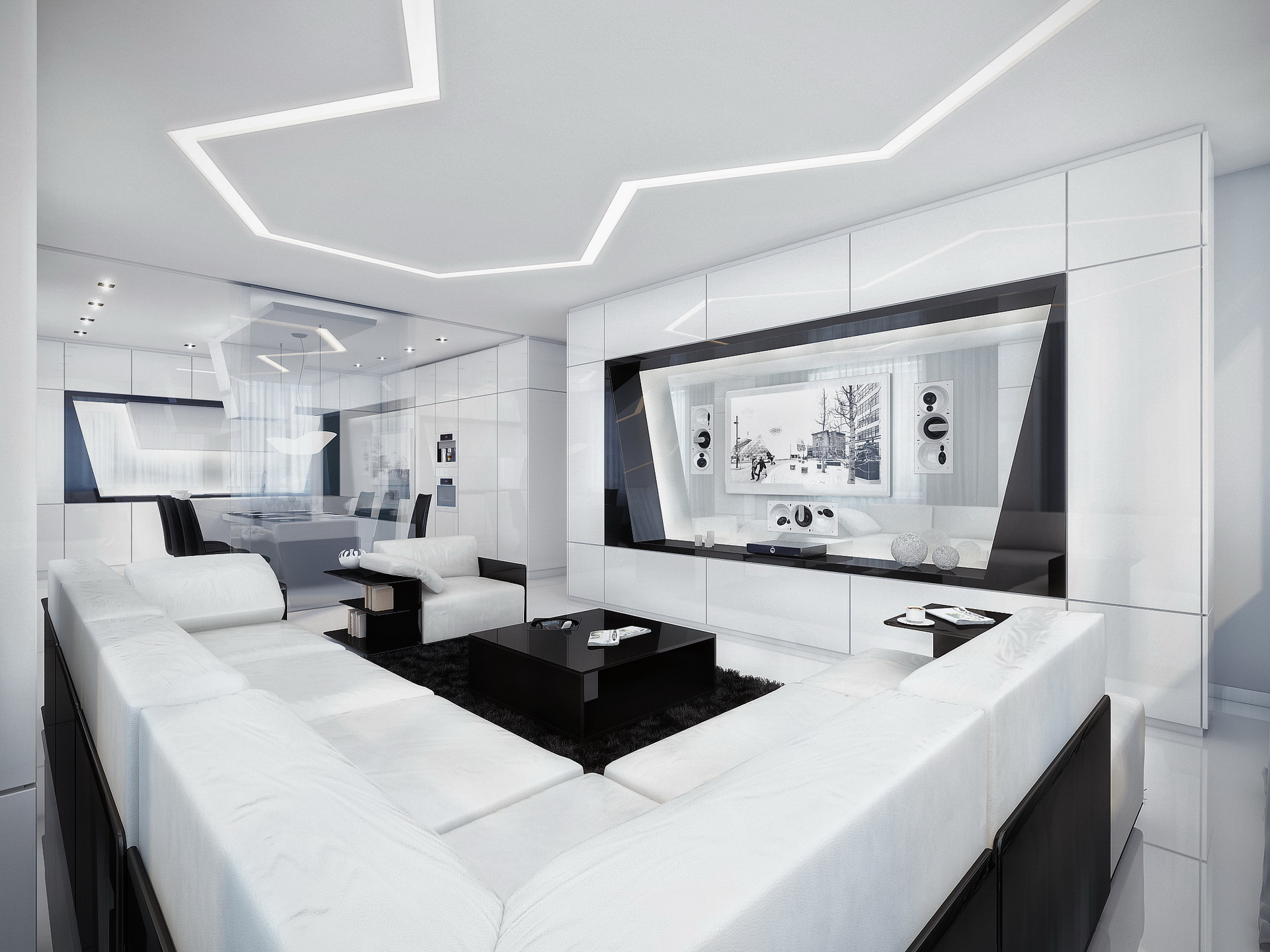 simple room clean lines touch of black elements black and white contemporary design