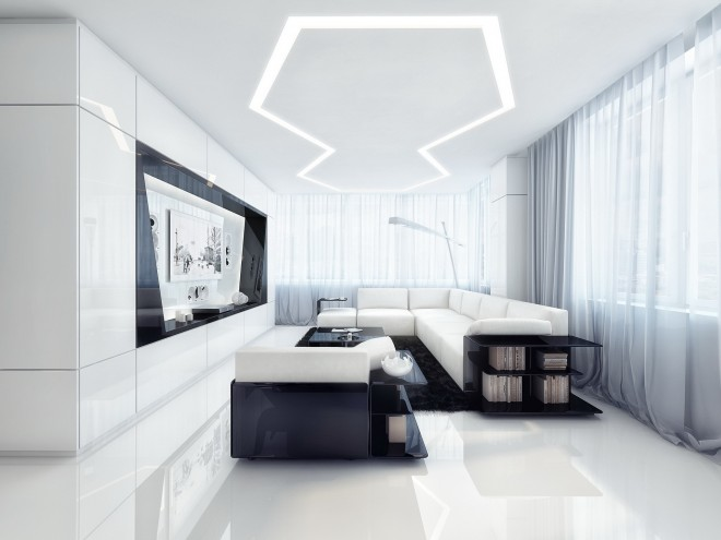 simple room clean lines touch of black elements black and white contemporary design richness wealth shiny finishes