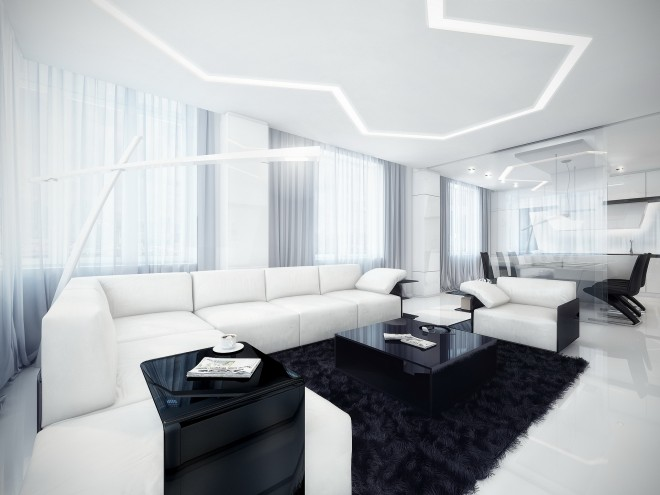 simple room clean lines touch of black elements black and white contemporary design edgy shiny rich atmosphere dream home
