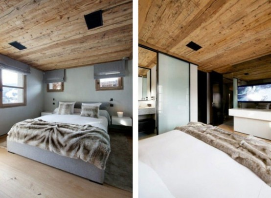 amazing bedroom design cabin in the woods mouintain retreat homesthetics luxurious-chalet-of-natural-wood-in-the-french-alps-1-554x369 (1)