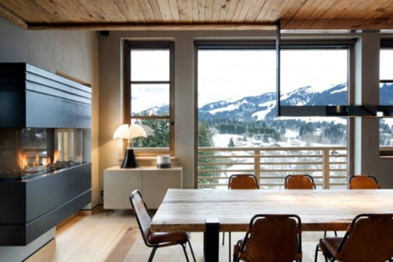 dinning area cabin in the woods mouintain retreat homesthetics luxurious-chalet-of-natural-wood-in-the-french-alps-1-554x369 (1)