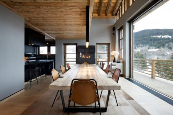 dinning area and kitchen design cabin in the woods mouintain retreat homesthetics luxurious-chalet-of-natural-wood-in-the-french-alps-1-554x369 (1)