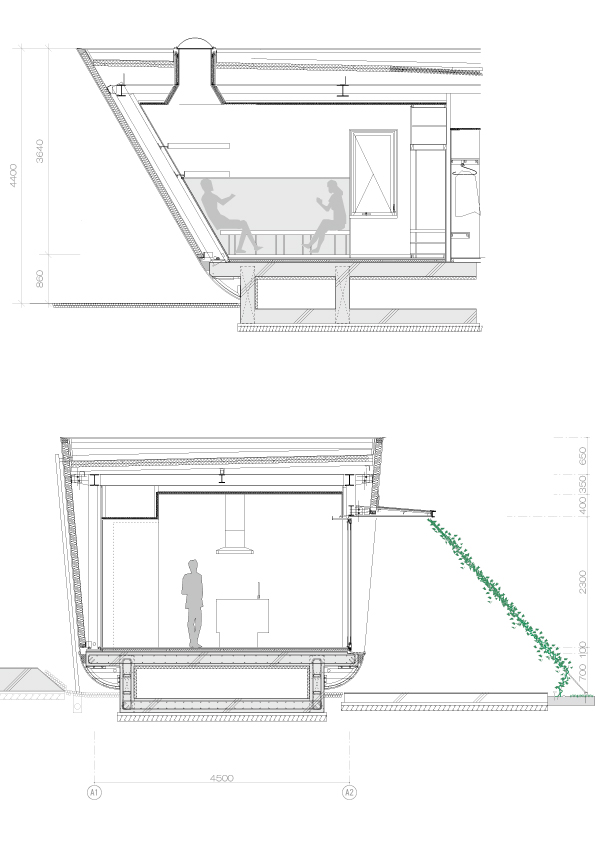 blueprint and section trough the Fluid Organic & Sustainable Assets Featured In a Japanese Home by Hideo Kumaki Architect Office