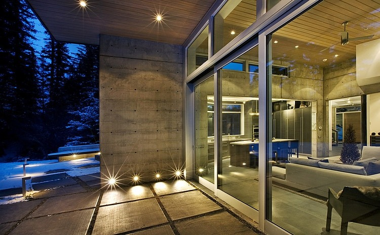high end modern mansion Unusual Winter Retreat Featuring Exposed Concrete and Huge Windows near Aspen, Colorado
