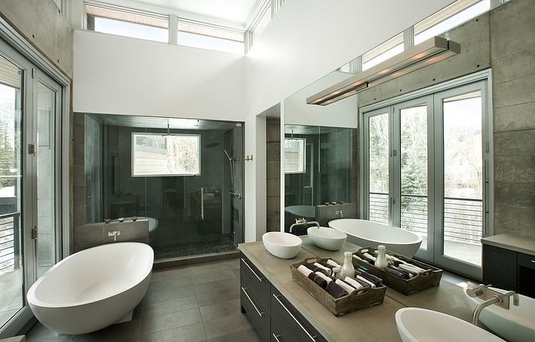 black and white bathroom design Unusual Winter Retreat Featuring Exposed Concrete and Huge Windows near Aspen, Colorado