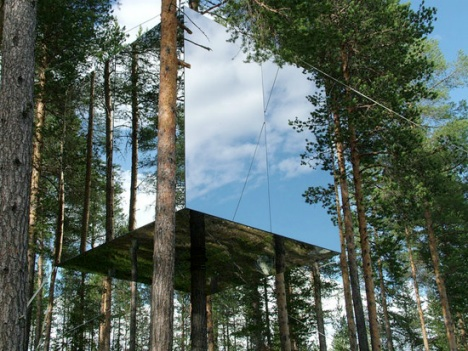 The Mirrorcube Hotel by Tham & Videgård Arkitekter  reflection of the nature in the glass surface