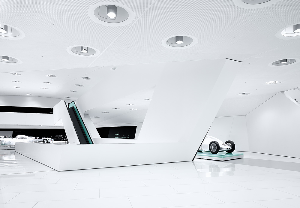 Porsche Museum in Stuttgart – Germany designed by Delugan Meissl contemporary display of modern design white finishes style