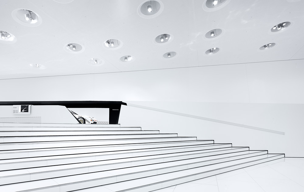 Porsche Museum in Stuttgart – Germany designed by Delugan Meissl contemporary display of modern design white finishes materials