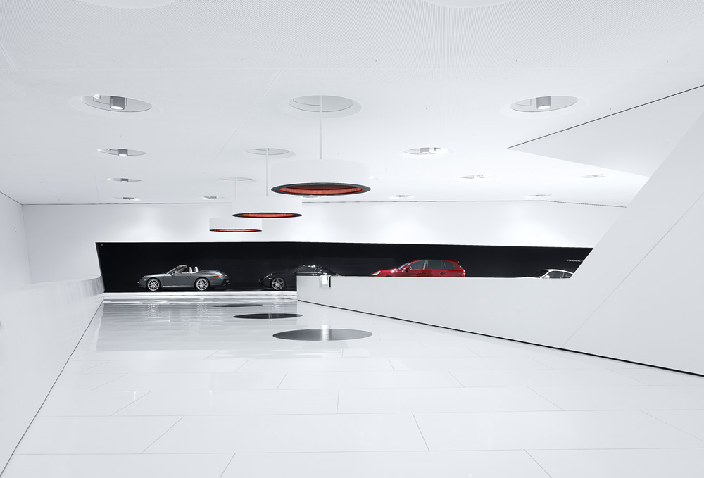 Porsche Museum in Stuttgart – Germany designed by Delugan Meissl contemporary display of modern design white finishes black accents