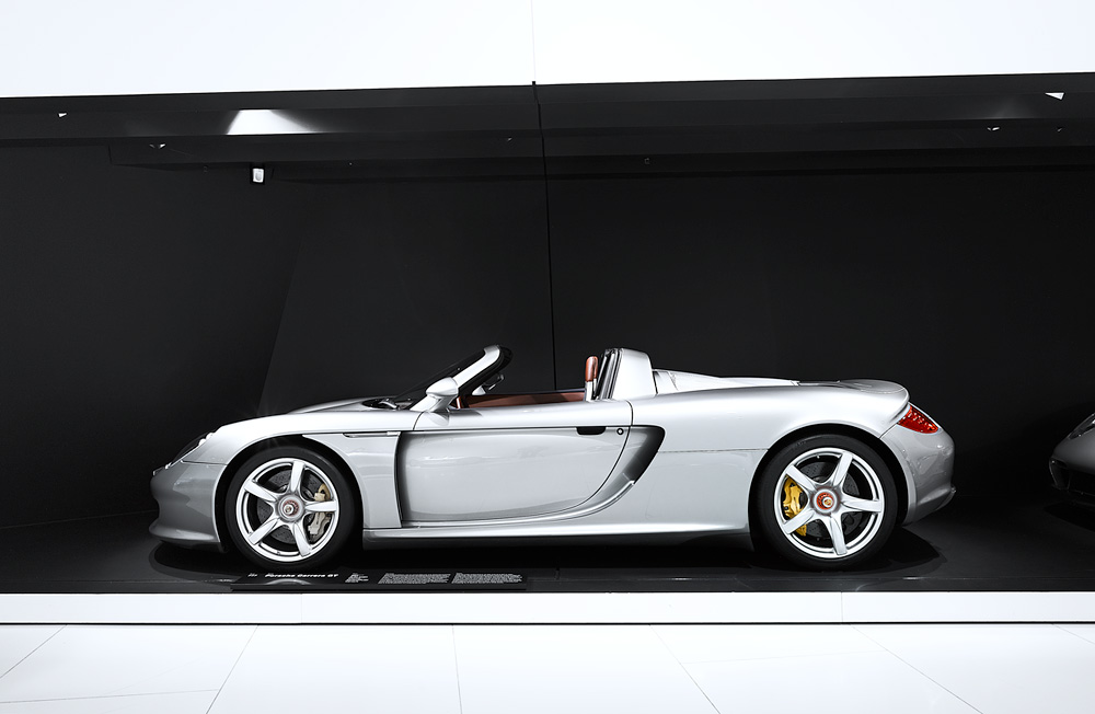 Porsche car in a display of contemporary interior design
