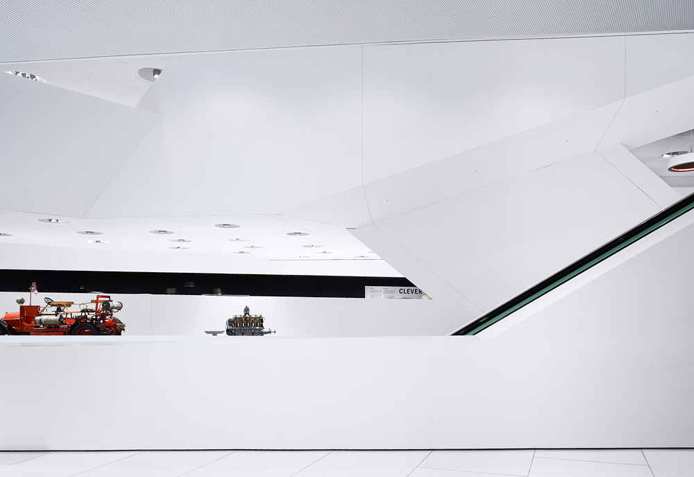 Porsche Museum in Stuttgart – Germany designed by Delugan Meissl contemporary display of modern design white finishe modern elegance contemporary approach
