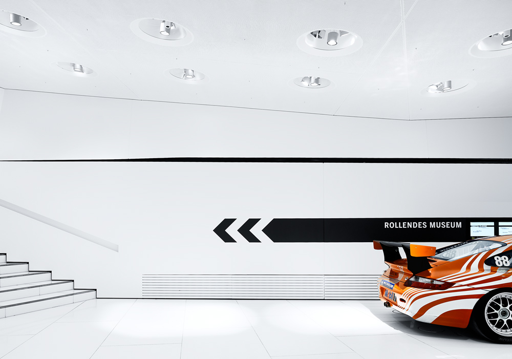 Porsche Museum in Stuttgart – Germany designed by Delugan Meissl contemporary display of modern design white finishes