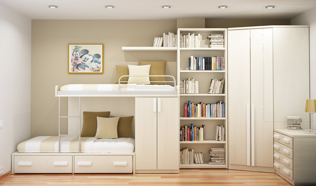 10 Tips on Small Bedroom Interior Design clean cozy atmosphere white interior design space saving solution suspended bed