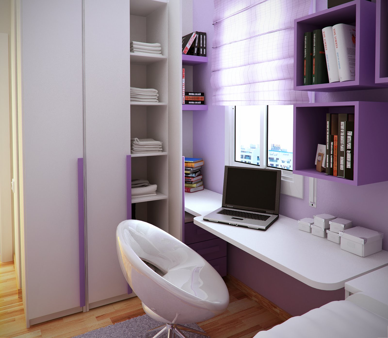 10 Tips on Small Bedroom Interior Design clean cozy atmosphere white interior design space saving solution modern design modern desk and chair