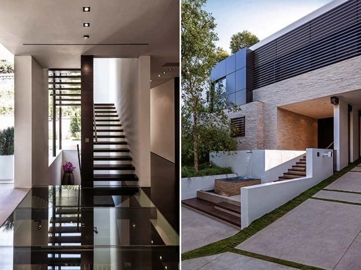 staircase and main access1201 Laurel Way-Cliff View Luxurious Modern Mansion in Beverly Hills California into