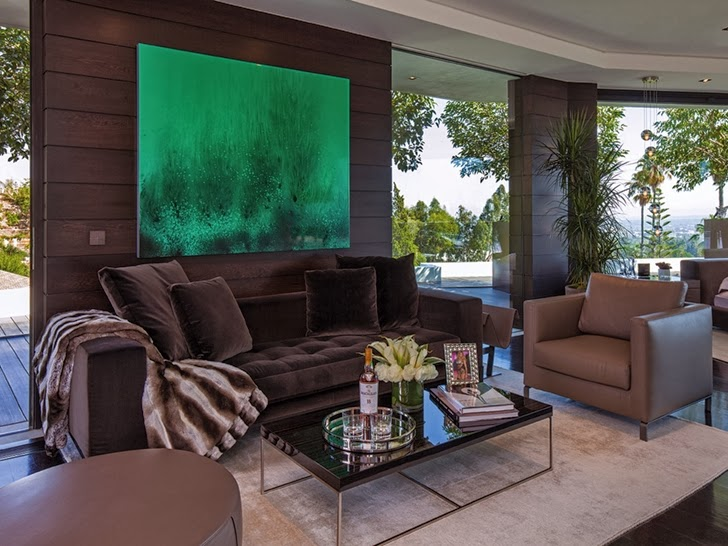 living area in the 1201 Laurel Way-Cliff View Luxurious Modern Mansion in Beverly Hills California