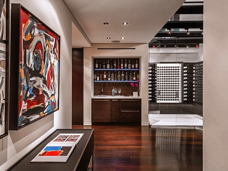 wine rack in the 1201 Laurel Way-Cliff View Luxurious Modern Mansion in Beverly Hills California