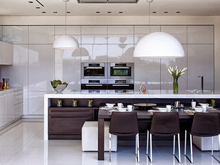 maroon and white kitchen interior design of the 1201 Laurel Way-Cliff View Luxurious Modern Mansion in Beverly Hills California