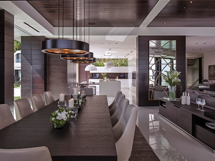 extraordinary dinning area of the 1201 Laurel Way-Cliff View Luxurious Modern Mansion in Beverly Hills California