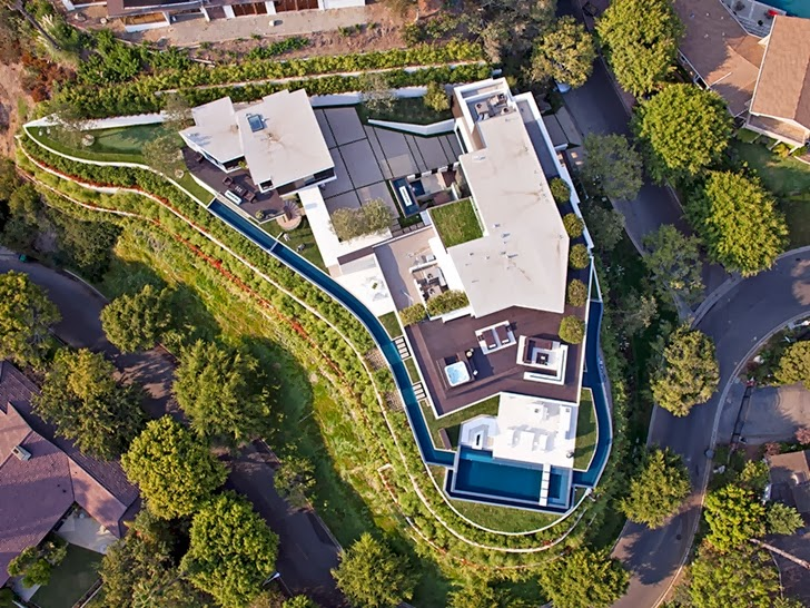 aerial view of the 1201 Laurel Way-Cliff View Luxurious Modern Mansion in Beverly Hills California