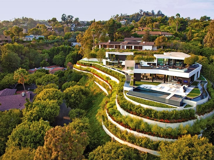 amazing perspective view over the 1201 Laurel Way-Cliff View Luxurious Modern Mansion in Beverly Hills California