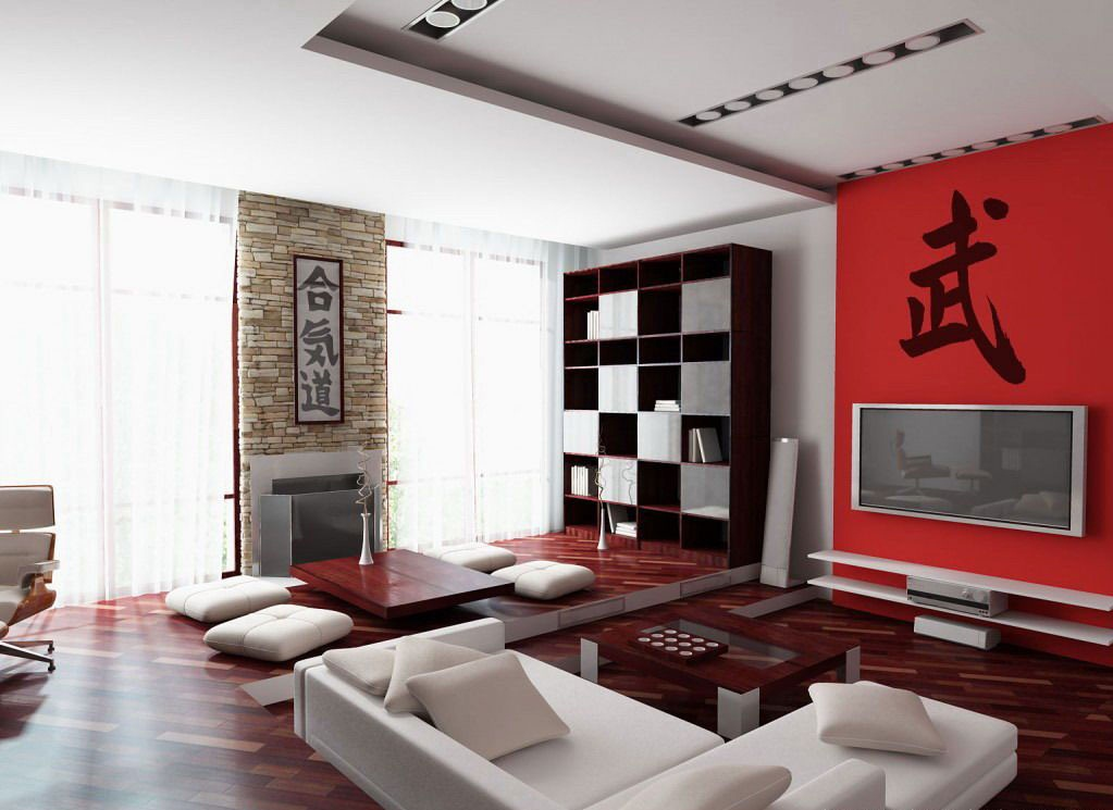 black white and red living room interior