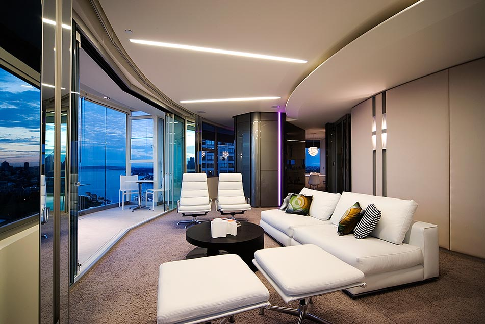 extraordinary black and white living room with mies van der rohe furniture and an extraordinary view