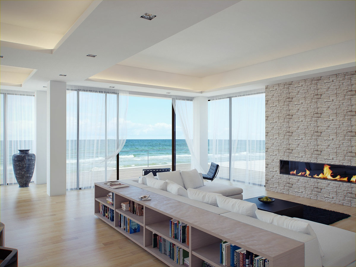 extraordinary white stark interior design for living room with opening to the beach