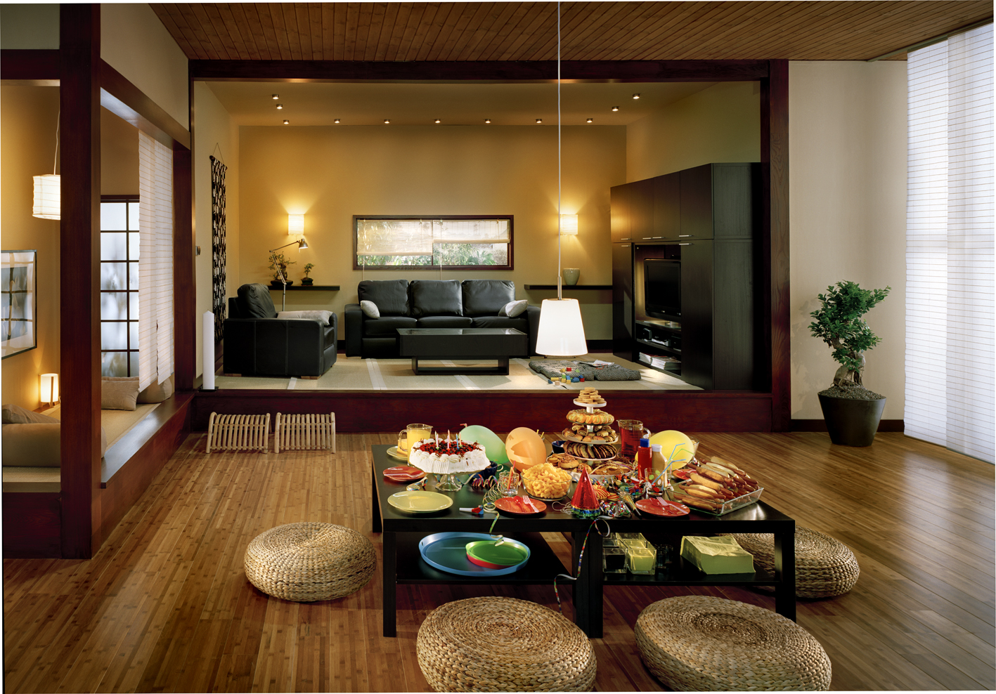 high end living room interior design with japanese tea table, decor with great taste