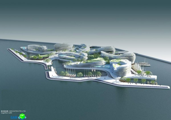 perspective view over 2022 Wold Cup Qatar`s Hosting Idea-Floating Hotels-Experimental Architecture (3)