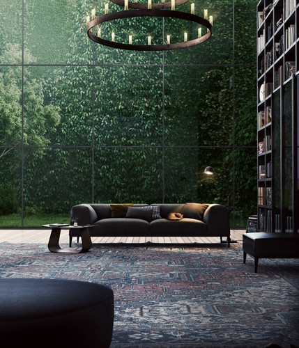 extraordinary glass wall in a library