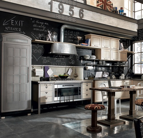 industrial kitchen design shabby chick design in black and white