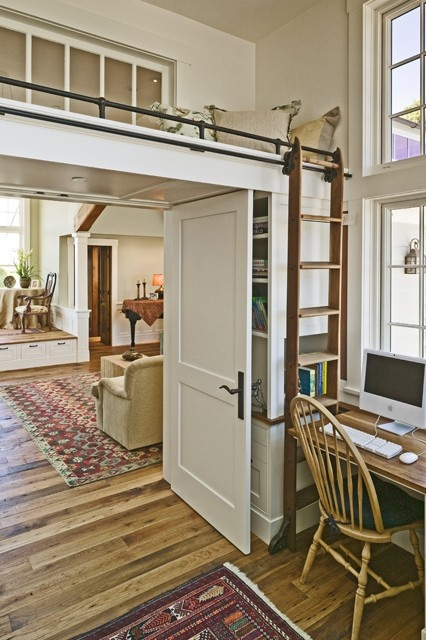 small bed above the door in stark white