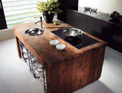 wood counter in the kitchen expressing great coziness and warmth withing the kicthen interior design
