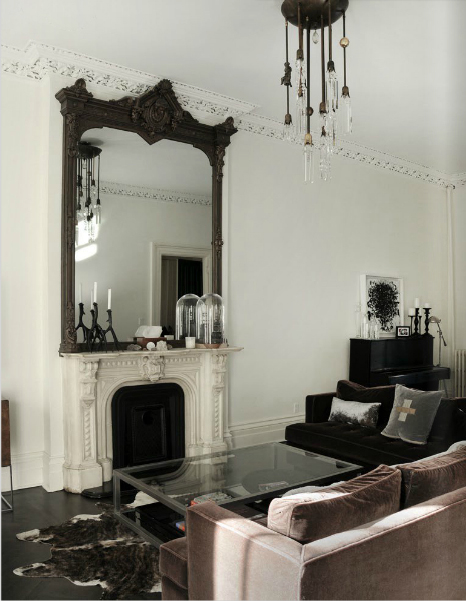 A House in Brooklyn: Dream Mansion with Decadent Interior Design  black and white interior design