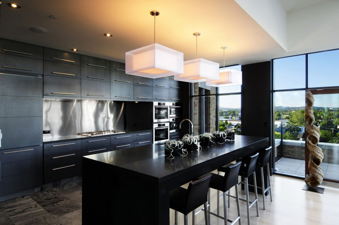 black and white kitchen bar Austonishing Penthouse Apartment with 360-degree Views Over Victoria, Canada modern mansion (23)