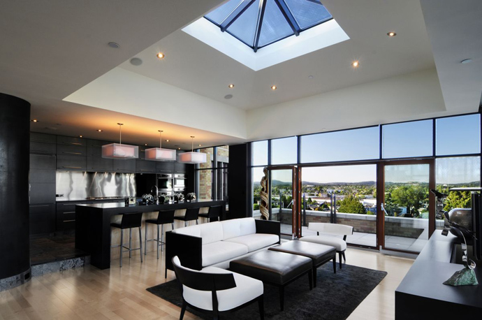 black and white dinning room Austonishing Penthouse Apartment with 360-degree Views Over Victoria, Canada modern mansion (23)