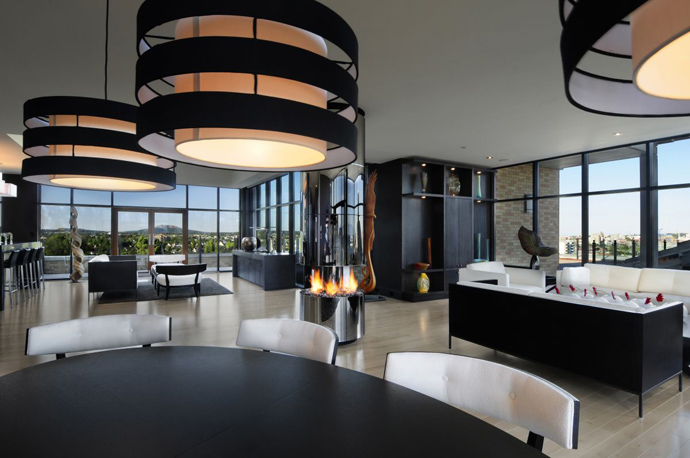 black and white Austonishing Penthouse Apartment with 360-degree Views Over Victoria, Canada modern mansion (23)