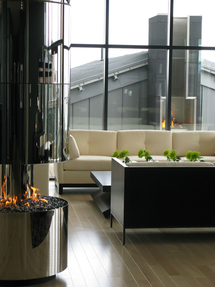 fireplace Austonishing Penthouse Apartment with 360-degree Views Over Victoria, Canada modern mansion (23)