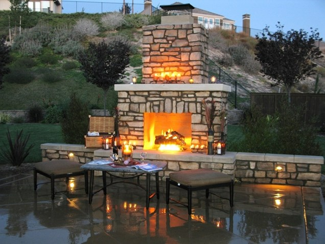 stone fireplace Backyard-Lanscaping-Ideas-Fireplaces-homesthetics