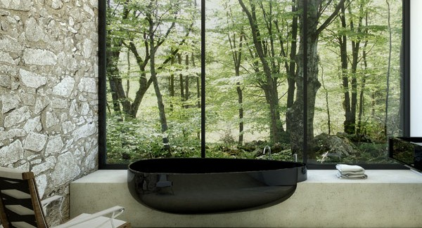 Black Bathtub Designed for Minimalist Bathrooms by Claudia Danelon and Federico Meroni black and white bathtub design for modern mansions homesthetics (3)
