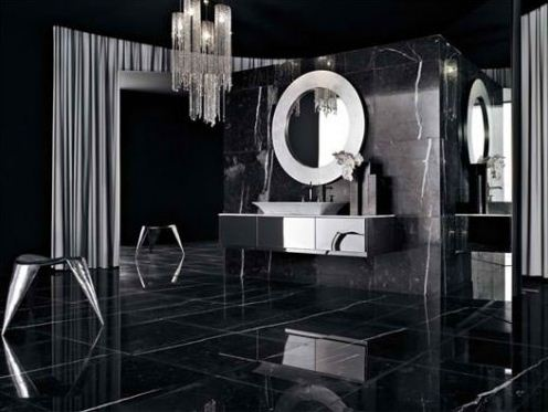 Bold Contemporary Interior Design Ideas: Black Bathroom ...
