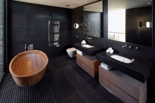 Bold Contemporary Interior Design Ideas: Black Bathroom Wood Accents