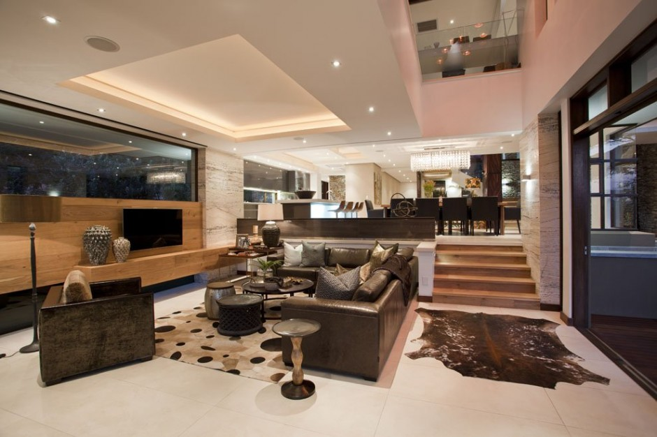black and white living room interior design into Contemporary Moden South African SGNW House by Metropole Architects  (4)
