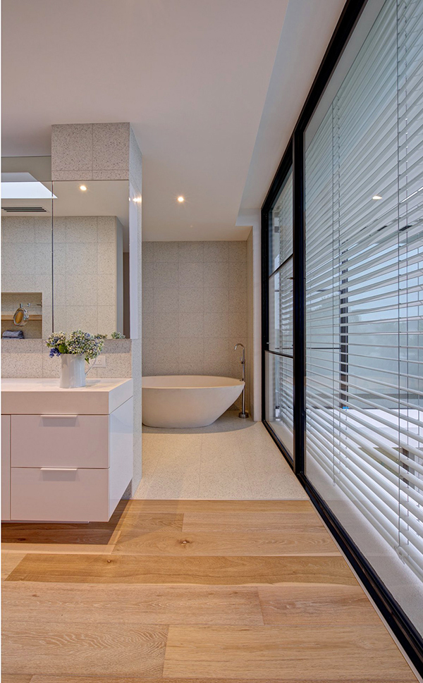 aery bathroom design space in black and white with wood