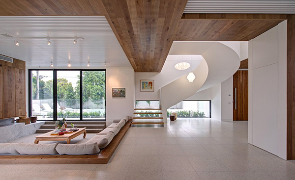 sculptural staicase and extraordinary living room interior design